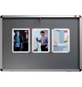 Schaukasten 16 x A4 für Innen mit Schloß,Textil zum Pinnen grau