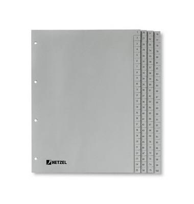 Register 1-100 100-teilig grau A4 volle Höhe PP-Folie