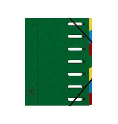 Eckspann-Ordnungsmappe 7 Fächer grü 425g/qm Manila Karton, Innenfach