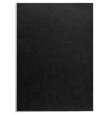 Einbanddeckel Leinenstruktur A4 250g Deckblatt, schwarz