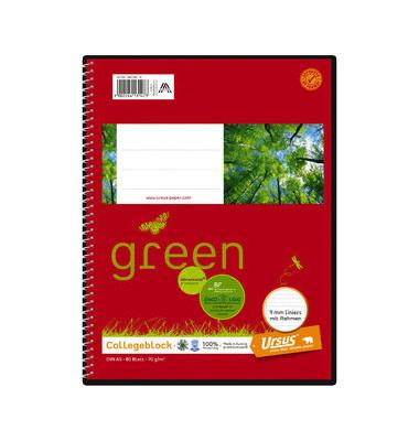 Collegeblock Ursus green 044350 10, A5 liniert, 70g 80 Blatt, 4-fach-Lochung