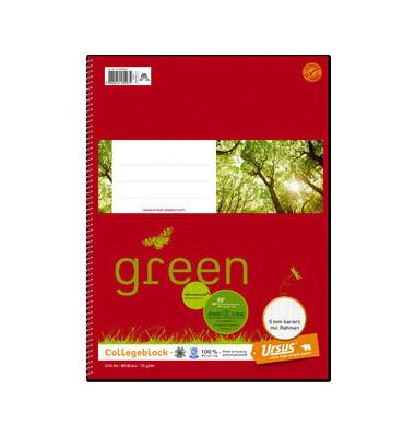 Collegeblock Ursus green 044360 020, A4 kariert, 70g 80 Blatt, 4-fach-Lochung