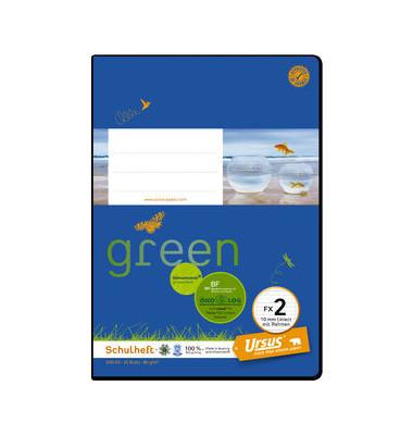 Schulheft green FX-2 A5 liniert mit Rahmen weiß 20 Blatt