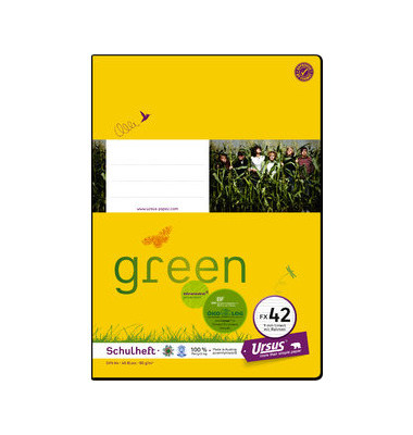 Schulheft green FX-42 A4 liniert mit Rahmen weiß 40 Blatt