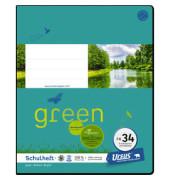 Schulheft green FX-34 Quart kariert mit Rahmen weiß 20 Blatt