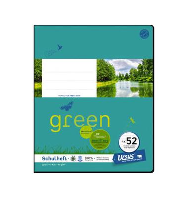 Schulheft green FX-52 Quart liniert mit Rahmen weiß 40 Blatt