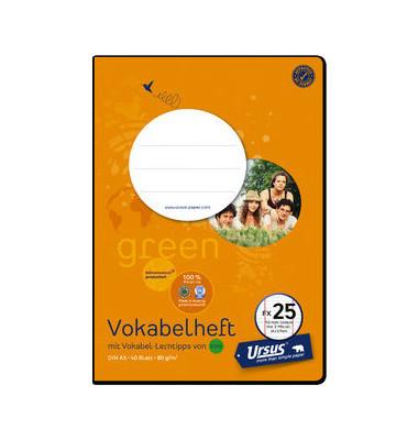 Vokabelheft green FX-25 A5 Lineatur 54 liniert 3 Spalten 40 Blatt