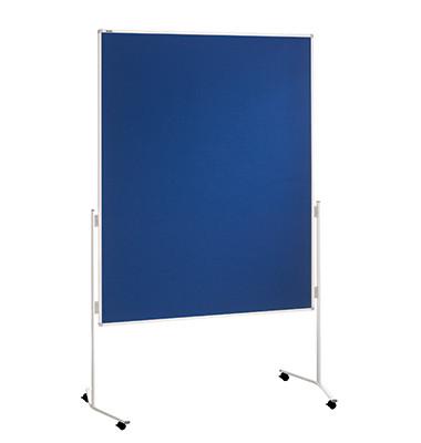 Moderationstafel Eco ECO-UMTF 03, 120x150cm, Filz + Filz (beidseitig), pinnbar, mit Rollen, blau + blau