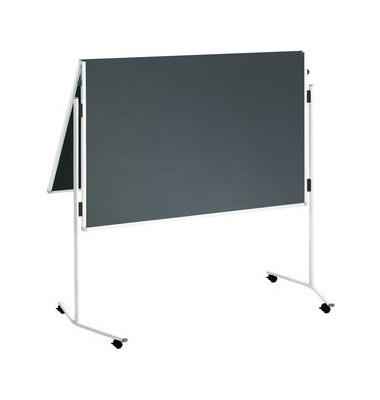 Moderationstafel Eco ECO-UMTF-G12 R, 120x150cm, Filz + Filz (beidseitig), pinnbar, klappbar, mit Rollen, grau + grau