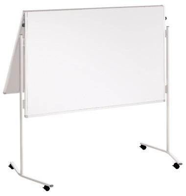 Moderationstafel Eco ECO-UMTK-G, 120x150cm, Karton + Karton (beidseitig), pinnbar, klappbar, mit Rollen, weiß + weiß