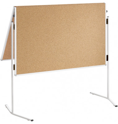 Moderationstafel Eco ECO-UMTKT-G, 120x150cm, Kork + Kork (beidseitig), pinnbar, klappbar, mit Rollen, braun + braun