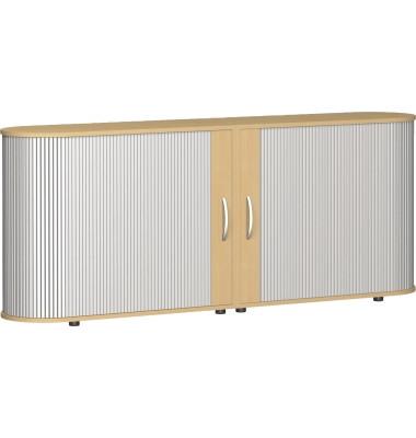 Aktenschrank Flex S-382104-SB, Kunststoff/Holz, 2 OH, 200 x 80 x 40 cm, silber/buche