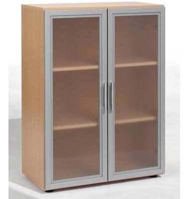 Aktenschrank Flex S-383802BU, Glas/Holz, 3 OH, 80 x 110,4 x 40 cm, buche