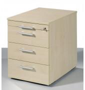 Rollcontainer Flex 530151AH Holz ahorn, 3 normale Schubladen, mit extra Utensilienauszug, abschließbar