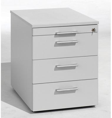 Rollcontainer Flex 530151LG Holz lichtgrau, 3 normale Schubladen, mit extra Utensilienauszug, abschließbar