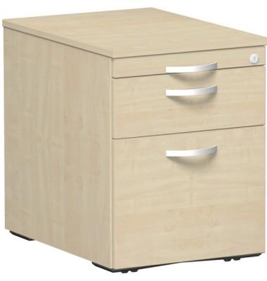 Rollcontainer Flex 530152AH Holz ahorn, 1 normale Schublade, mit extra Hängeregisterauszug, mit extra Utensilienauszug, abschli