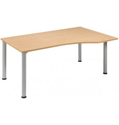 Schreibtisch Stockholm S555305-BU/WA buche Freiform 180x80/100 cm (BxT) manuell höhenverstellbar