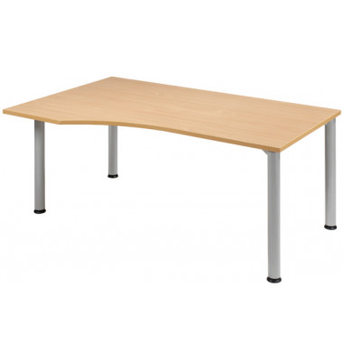Schreibtisch Stockholm S555306-BU/WA buche Freiform 180x100/80 cm (BxT) manuell höhenverstellbar