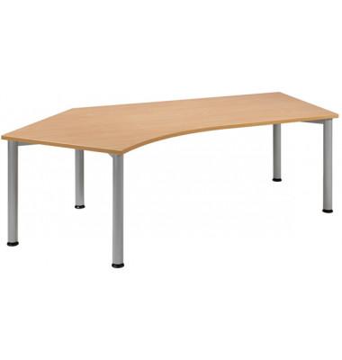 Schreibtisch S555315-BU/WA buche Winkelform 216,6x113/80 cm (BxT) manuell höhenverstellbar