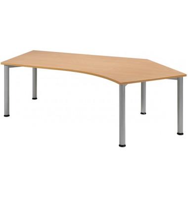 Schreibtisch S555316-BU/WA buche Winkelform 216,6x113/80 cm (BxT) manuell höhenverstellbar
