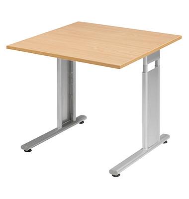 Schreibtisch Lissabon S-617101BUSI buche quadratisch 80x80 cm (BxT) manuell höhenverstellbar