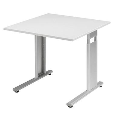 Schreibtisch Lissabon S-617101LGSI grau quadratisch 80x80 cm (BxT) manuell höhenverstellbar
