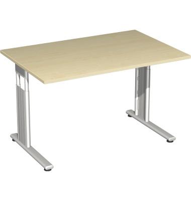 Schreibtisch Lissabon S-617102AHSI ahorn rechteckig 120x80 cm (BxT) manuell höhenverstellbar