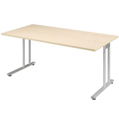 Schreibtisch Lissabon S-617103AHSI ahorn rechteckig 160x80 cm (BxT) manuell höhenverstellbar