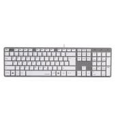 Tastatur Rossano USB Kabel weiß/silber