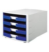 Schubladenbox Impuls lichtgrau/blau 4 Schubladen