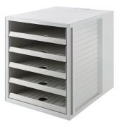 Schubladenbox Schrank-Set Karma 14018-18 grau/grau 5 Schubladen offen
