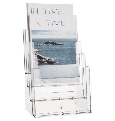 Tischprospekthalter glasklar DIN A4 hoch 4 Fächer