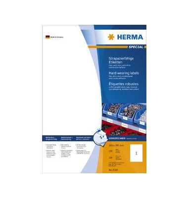 Etiketten 8335 210 x 297 mm weiß Folie 100 Stück strapazierfähig wetterfest