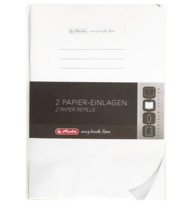 Ersatzeinlagen, A5, blanko, je 40 Blatt, Lineatur 6, Papier 80g/qm,