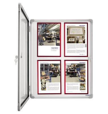 Schaukasten SP 1215000 4 x A4 Metallrückwand weiß, grau magnetisch