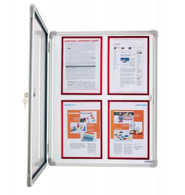 Schaukasten SP 1215100 6 x A4 Metallrückwand weiß, grau magnetisch