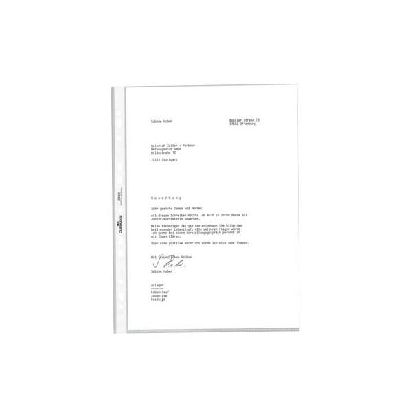 10x DURABLE PREMIUM Prospekthülle DIN A4 Universallochung oben offen glasklar