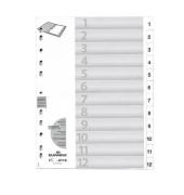 Kunststoffregister 6112-02 1-12 A4 0,12mm weiße Taben 12-teilig