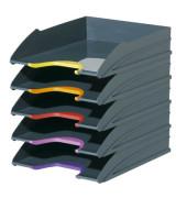 Briefablage Varicolor A4 / C4 grau stapelbar 5 Stück farbige Greifzonen