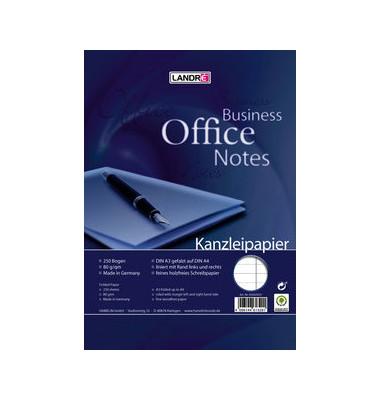 Kanzleipapier OFFICE A3 auf A4 gefalzt liniert mit 2x Rand weiß 250 Blatt