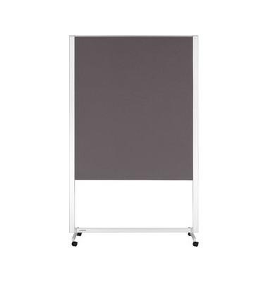 Moderationstafel Mobile 7-202500, 120x150cm, Filz + Filz (beidseitig), pinnbar, mit Rollen, grau + grau