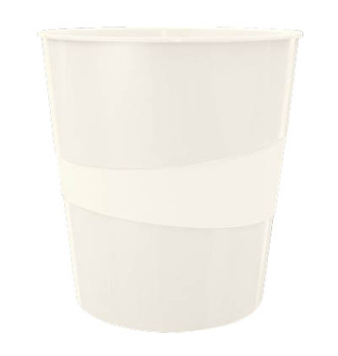 Leitz Papierkorb 5278 WOW 15 Liter perlweiß