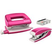 Mini-Locher+Mini-Heftgerät WOW pink met bis 10 Blatt