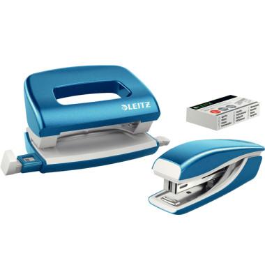 Mini-Locher+Mini-Heftgerät WOW blau met bis 10 Blatt