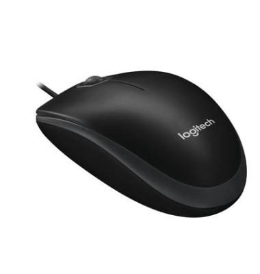 PC-Maus B100 910-003357, 3 Tasten, mit Kabel, USB-Kabel, optisch, schwarz