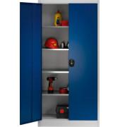 Aktenschrank MKST-SLV, Stahl abschließbar, 5 OH, 95 x 195 x 42 cm, blau/lichtgrau