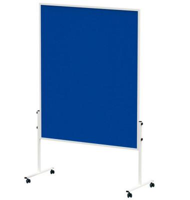 Moderationstafel Solid 636 54 82, 120x150cm, Filz + Filz (beidseitig), pinnbar, mit Rollen, blau + blau