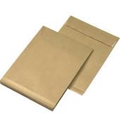 Faltentaschen C4 ohne Fenster 40mm Falte haftklebend 130g braun 10 Stück