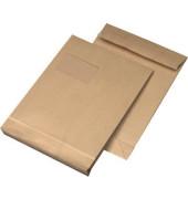 Faltentaschen C4 mit Fenster 20mm Falte haftklebend 120g braun 25 Stück