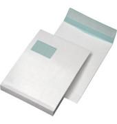 Faltentaschen C4 mit Fenster 20mm Falte haftklebend 120g weiß 25 Stück